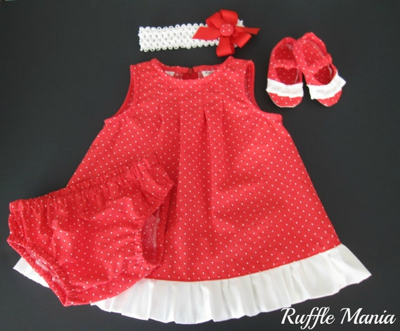 SPRING SALE! Infant sundress in red with white polka dots, set includes matching panties, ruffled shoes, headband w/bow , Size 3-6 months