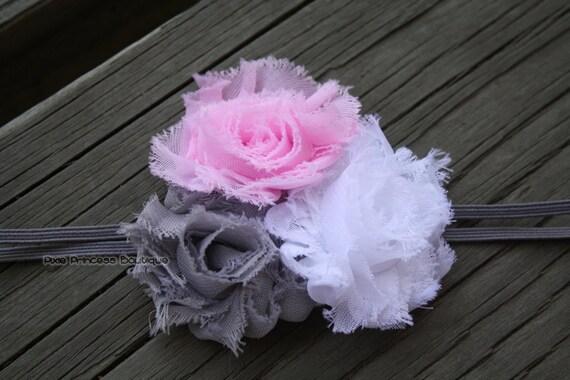 3-6 months - Pink, Grey, and White Shabby Flower Trio Headband on Grey Skinny Elastic
