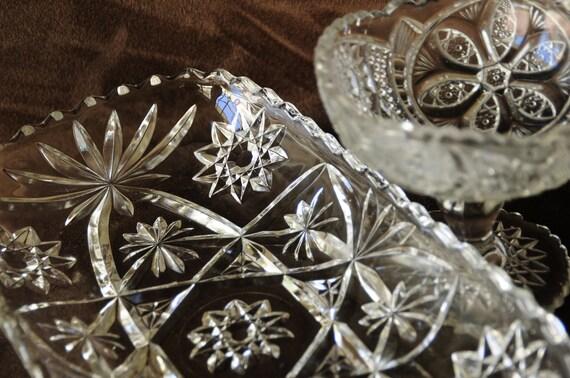 Cut glass serving pieces 2 pieces