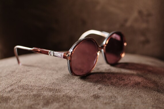 Oversized Round Vintage Light Brown Frames with Silver Detail Eyeglasses