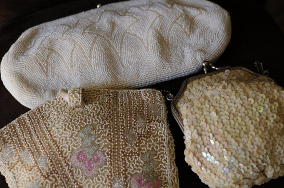 Beautiful Vintage Estate Lot of 3 Beaded Handbags