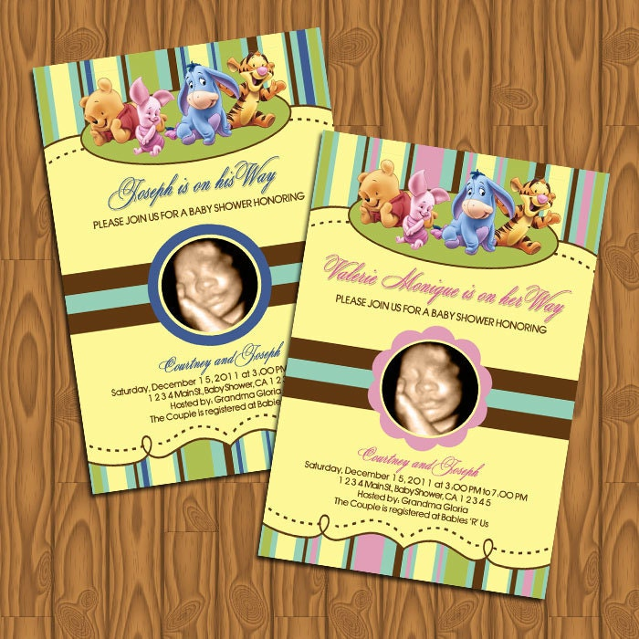 baby winnie the pooh baby shower invitations diy by jayarmada2