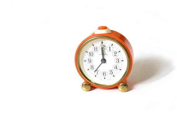 Vintage German Alarm Clock Orange RUHLA East Germany Mechanical