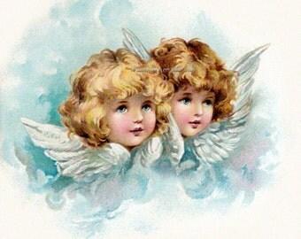 Angels Fabric Block | Two Cherubs Fabric