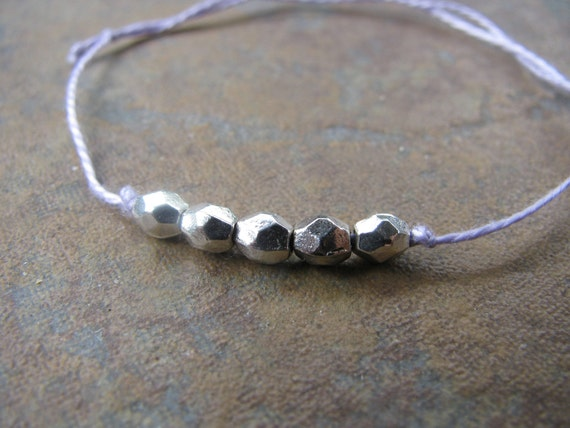 Silver-Plated Beads on Lavender Cotton Cord Bracelets