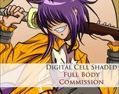 COMMISSION: Digital Cell Shaded Picture - 1 Character - FULL BODY - Custom commissioned artwork