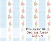 INSTANT DOWNLOAD - Romantic Blue - Digital paper for scrapbooking & crafts