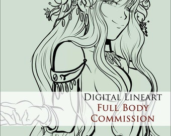 COMMISSION: Digital Lineart - 1 Character - FULL BODY - Custom commissioned artwork