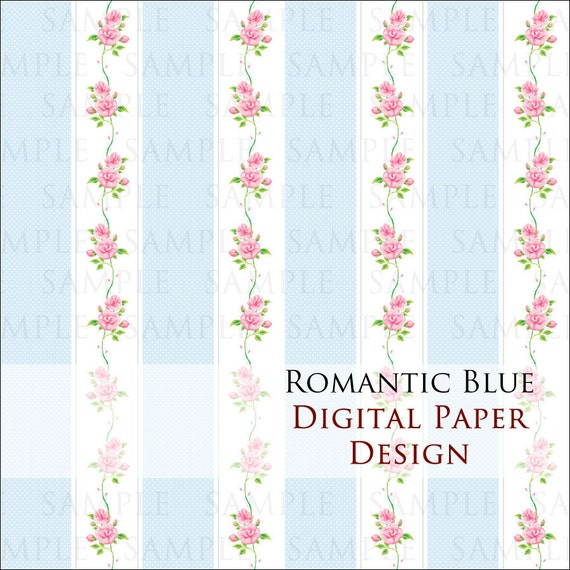 Romantic Blue - Digital paper for scrapbooking & crafts