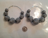 Bold Silver and Black 80mm mesh beaded hoops