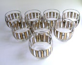 Roly Poly Culver Cocktail Glass Mid Century Modern Art Gold Black Stripes Round Complete Set of Eight