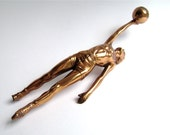 Basketball Man Vintage Trophy Part Found Art Supply Copper Tone Athlete Hoops Jump Ball