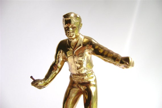 Vintage Man with Shiv Trophy Gold Tone Trophy Part with Bakelite Base Found Art Supply