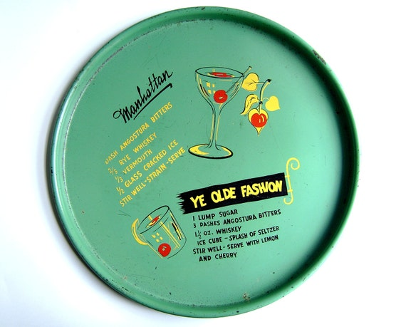 Tray Placo Green Cocktail Platter with Manhattan and Old Fashion Recipes Mid Century Happy Hour