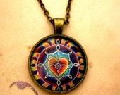 Rainbow Heart Mandala Pendant - Mandala Love pendant gift Valentine Jewelry Necklace, sacred circle drawing