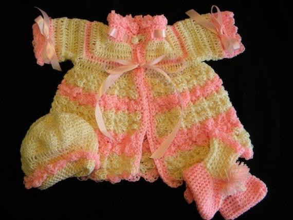هلو و صورتی نوزاد ژاکت کش باف پشمی قلاب دوزی، کلاه و booties