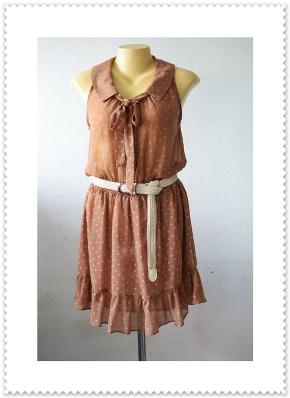 Vintage Ruffle Tiers Floral Sleelveless Brown Bow Party Tunic Dress