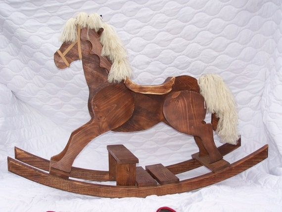 Handcrafted Wooden Step Up Pony Rocking Horse