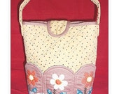 Quilted bag, hand applique, hand quilted, Floral bloom, 9.5  x 10 x 5 inches
