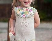 Summer knitted linen dress for little girls fun