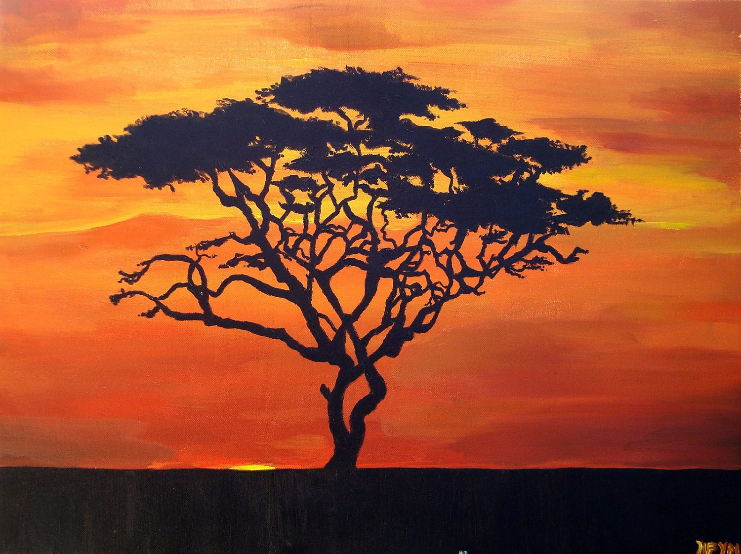 african sunset silhouette