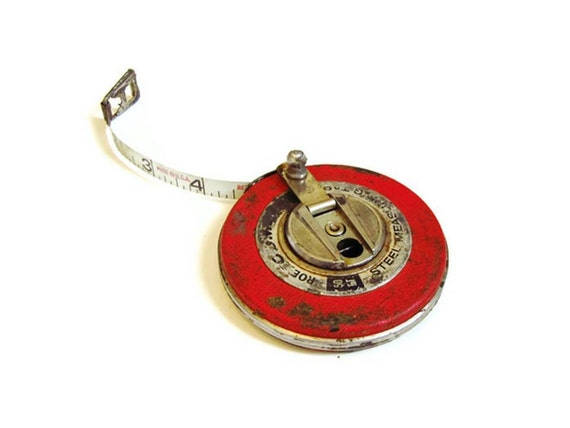 Vintage Roe Comet Tape Measure  / 50 Ft Steel Tape / Candy Apple Red / Vintage Measuring Tape / Industrial Tool