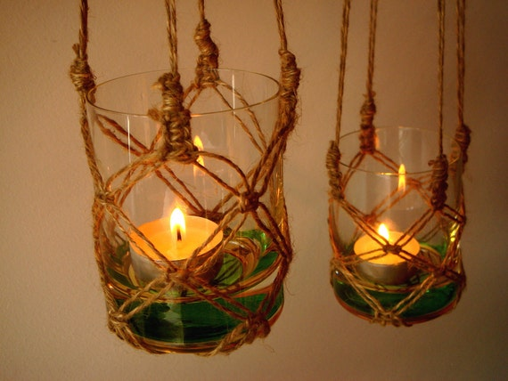 Handmade Candle Stand Designs : Two handmade macrame hanging candle holder garden outdoor