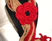 Red and Brown hand  knit scarf. Crochet flower scarf. .
