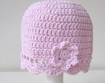 Crochet Pattern Baby Hat Classic INSTANT DOWNLOAD PDF, flower, simple, beginners, uk or us crochet terms No1