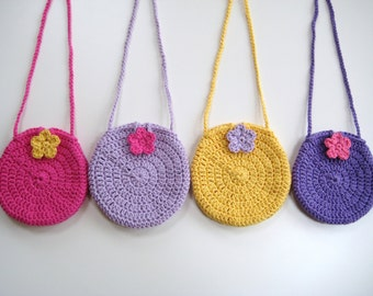 Crochet Pattern Round Circle purse bag INSTANT DOWNLOAD PDF, girl bag, cute, easy, quick, uk or us crochet terms  No3