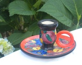 Czech pottery- Mrazek style candle holder