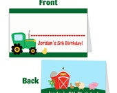 Farm Buffet Cards - Green Tractor and Barn Animals, Pig and Sheep Personalized Birthday Party Name Cards - A Digital Printable File