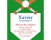 Baseball Invitation - Green Field and Baseball Base with Bats and Ball Personalized Birthday Party Invite - a Digital Printable File