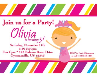 Gymnastic Invitation - Colorful Striped Girl Gymnast Personalized Birthday Party Invite - a Digital Printable File