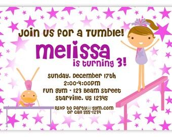 Gymnastic Invitation - Fun Purple Stars Girl Gymnast Personalized Birthday Party Invite - a Digital Printable File