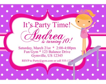 Gymnastic Invitation - Pink and Purple Polka Dot Girl Gymnasts Personalized Birthday Party Invite - a Digital Printable File