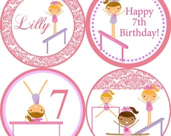 Gymnastic Party Circles - Pastel Pink Damask Girl Gymnast Personalized Birthday Party Circles - A Digital Printable File