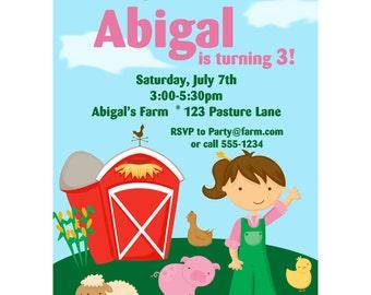 Farm Invitation - Cute Little Farmer Girl Personalized Birthday Party Invite - a Digital Printable File