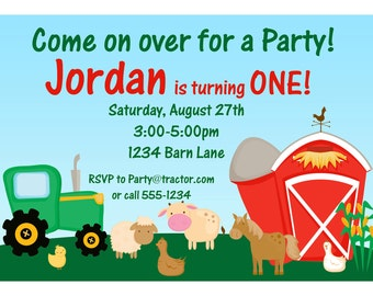 Farm Invitation - Barn Animals, Sheep, Horse and Cow Personalized Birthday Party Invite - a Digital Printable File