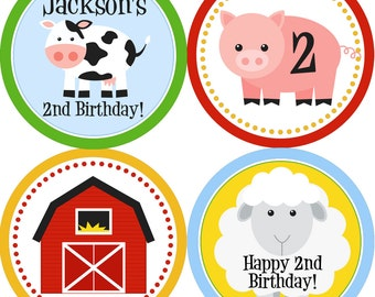 Farm Party Circles - Colorful Barn Animals, Cow, Sheep and Pig Personalized Birthday Party Circles - A Digital Printable File