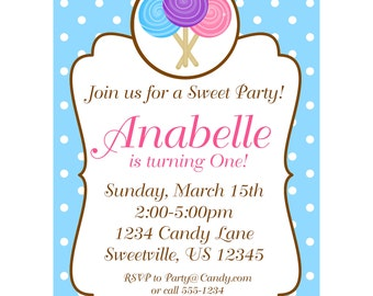 Candy Shoppe Invitation - Blue Polka Dot Lollipops Sweet Shoppe Personalized Birthday Party Invite - a Digital Printable File