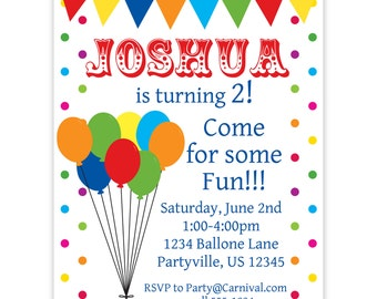 Carnival Circus Invitation - Red, Yellow, Blue and Green Balloons and Bunting Personalized Birthday Party Invite - a Digital Printable File