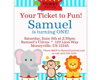 Circus Carnival Invitation Ticket - Blue Circus Animals Elephant, Monkey Lion Personalized Birthday Party Invite - a Digital Printable File