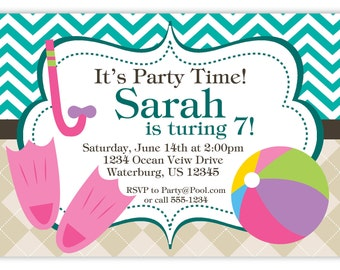 Pool Party Invitation - Teal Chevron and Tan Argyle, Beach Ball and Flippers Personalized Birthday Party Invite - a Digital Printable File