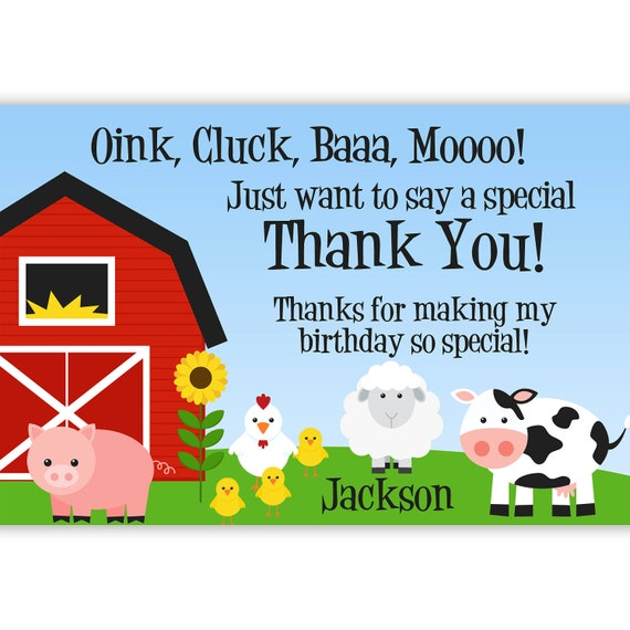 Farm Thank You Card Barn Animals Pig Chicken Sheep And
