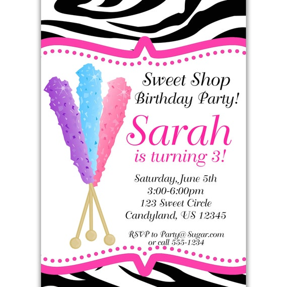 Candy Shoppe Invitation - Hot Pink and Zebra Print Lollipops Sweet Shoppe Personalized Birthday Party Invite - a Digital Printable File