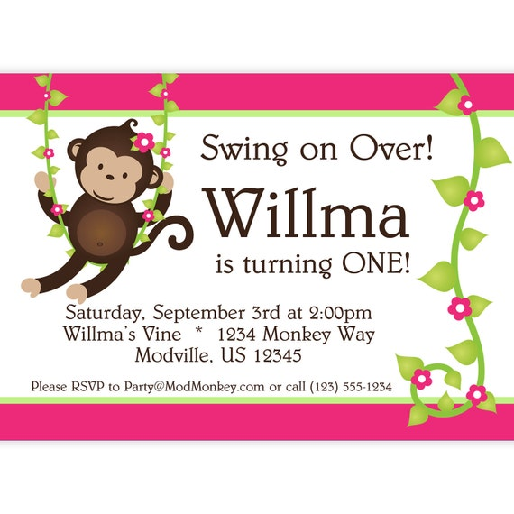 Monkey love party invitations - photo#15