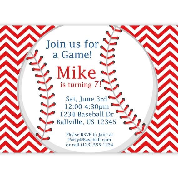 Baseball Invitation Red Stripe Chevron Baseball Ball