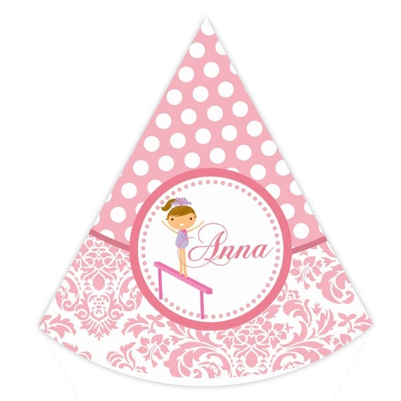 Gymnastics Party Hat - Pink Damask and Polka Dot Girl Gymnast Personalized Birthday Party Hat - a Digital Printable File