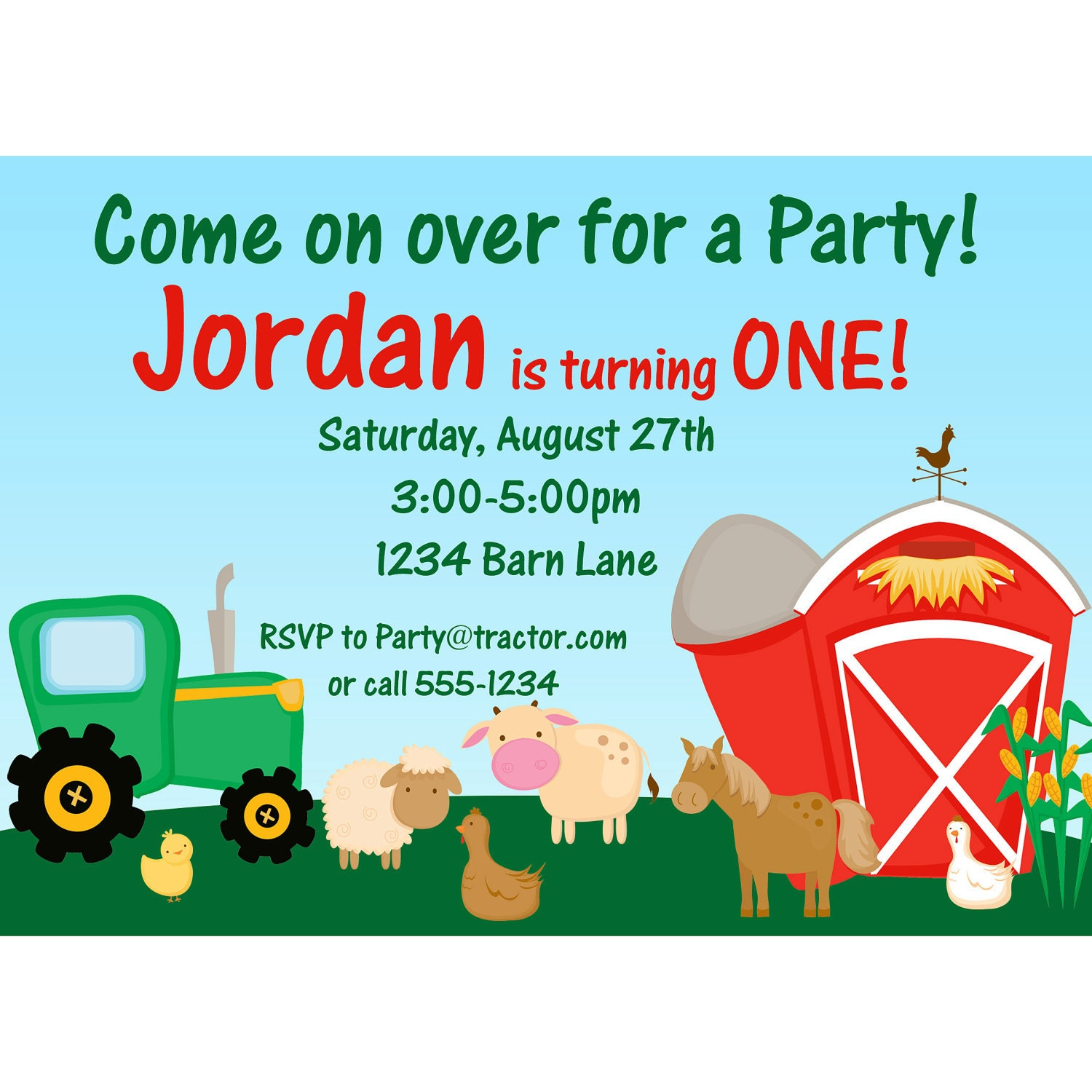 Farm Invitation Barn Animals Sheep Horse and Cow – Farm Party Invitations